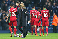 Swansea City manager Carlos Carvalhal applauds the fans after the final whistle of the Premier League match between Swansea City and West Bromwich Albion at the Hawthorns Stadium, Birmingham, England, UK. Saturday 07 April 2018