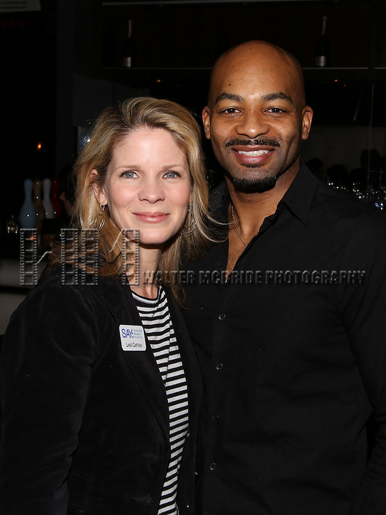 Kelli O'Hara and Brandon Victor Dixon attend the 5th Annual Paul Rudd All-Star Bowling Benefit for (SAY) at Lucky Strike Lanes on February 13, 2017 in New York City.