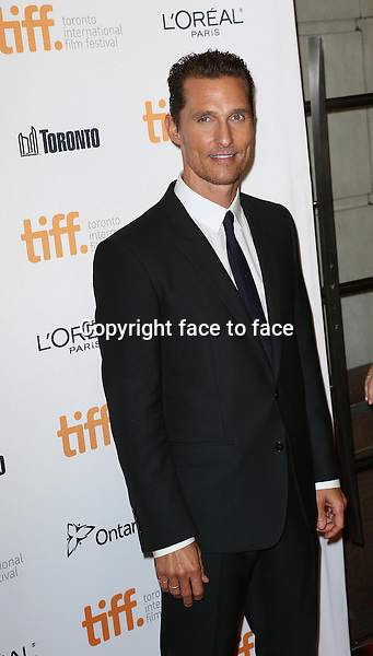 Matthew McConaughey attending the 2013 Tiff Film Festival Red Carpet Gala for &quot;Dallas Buyers Club&quot; at The Princess of Wales Theatre on September 7, 2013 in Toronto, Canada.<br />