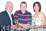 FAME: Attending the Kerry Basketball Awards evening in The Castle Bar, Rock St, Tralee, on Friday were, l-r: Donal OConnor (Special Merit Award Winner), Pa Carey (Chairman of Kerry County Board Basketball Council) and Liz Galway (Ladies Merit Award Winner)..