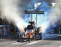 Jul 8, 2016; Joliet, IL, USA; NHRA top fuel driver Luigi Novelli during qualifying for the Route 66 Nationals at Route 66 Raceway. Mandatory Credit: Mark J. Rebilas-USA TODAY Sports