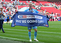 28th May 2018, Wembley Stadium, London, England;  EFL League 2 football, playoff final, Coventry City versus Exeter City; Jack Grimmer of Coventry City celebrates towards the Coventry City fans with a giant banner We're Going Up!