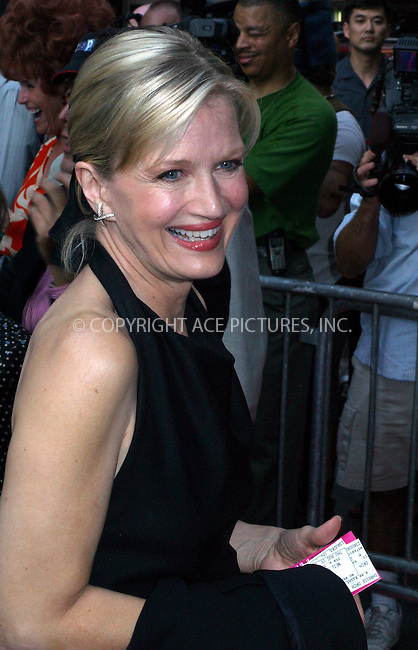 "Opening night for Broadway's newest and hottest show, ""Hairspray"" at Neil Simon Theatre. New York, August 15, 2002. Pictured is DIANE SAWYER. Please byline: Alecsey Boldeskul/NY Photo Press.   ..*PAY-PER-USE*      ....NY Photo Press:  ..phone (646) 267-6913;   ..e-mail: info@nyphotopress.com"
