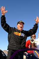 Apr. 5, 2009; Las Vegas, NV, USA: NHRA comp eliminator driver Dan Fletcher after winning the Summitracing.com Nationals at The Strip in Las Vegas. Mandatory Credit: Mark J. Rebilas-