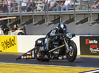 Mar. 16, 2013; Gainesville, FL, USA; NHRA pro stock motorcycle rider Eddie Krawiec during qualifying for the Gatornationals at Auto-Plus Raceway at Gainesville. Mandatory Credit: Mark J. Rebilas-