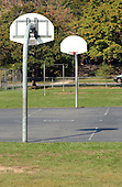"""Kensington, MD - October 23, 2002 -- The basketball courts at Capitol View-Homewood Park are empty as people are reluctant to be outside due to the threat of the """"Beltway Sniper"""".  The basketball courts are almost always in use during daytime by the P.E. classes at Oakland Terrace Elementary School or by pick-up games after school. <br /> Credit: Ron Sachs / CNP<br /> (RESTRICTION: NO New York or New Jersey Newspapers or newspapers within a 75 mile radius of New York City)"""