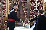 King Felipe VI of Spain meets Bangladesh Republic Ambassador Hassan Mahmood Khandker at Royal Palace in Madrid, Spain. December 16, 2015. (ALTERPHOTOS/Victor Blanco)