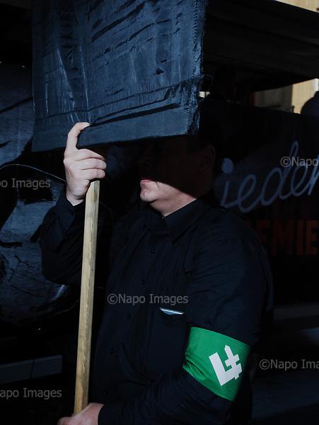 Warsaw 01.08.2017 Poland<br /> Member of the Radical National Camp (ONR) during 73rd anniversary of the Warsaw Urpising in Warsaw<br /> Photo: Adam Lach / Napo Images<br /> <br /> Warszaw 01.08.2017<br /> Czlonek Obozu Narodowo-Radykalnego podczas 73 rocznicy powstania warszawskiego.<br /> Foto: Adam Lach / Napo Images