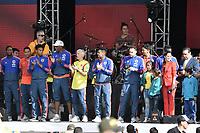 BOGOTA - COLOMBIA, 05-07-2018: Jugadores de la Selección Colombia de fútbol reciben un homenaje hoy, 05 de julio de 2018, después de su participación en la Copa Mundial de la FIFA Rusia 2018. El acto tuvo lugar een el estadio Nemesio Camacho El Campín de la ciudad de Bogotá / Players of Colombia national soccer team receives tribute today, July 5, 2018, after their participation in the FIFA World Cup Russia 2018. The event took place at Nemesio Camacho El Campin stadium in Bogota city. Photo: VizzorImage / Gabriel Aponte / Staff