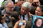 Democratic Revolution Party (PRD) candidate Andres Manuel Lopez Obrador hugs a mother while Javier Sicilia looks at, at the end of the dialogue with members of the National Movement for Peace with Justice and Dignity (MPJD) in the Alcazar del Castillo de Chapultepec venue in Mexico City, May 28. 2012. Sicilia and the mothers of disappeared people demanded peace to Mexico and the punishment of the authorities linked to the organized crime in Mexico. Photo by Heriberto Rodriguez