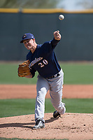 Milwaukee Brewers relief pitcher Nathan Kirby (20) during a Minor League Spring Training game against the Colorado Rockies at Salt River Fields at Talking Stick on March 17, 2018 in Scottsdale, Arizona. (Zachary Lucy/Four Seam Images)