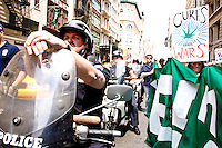 Protesters march down Broadway during the the Million Marijuana March in New York City on May 6, 2006.<br /> <br /> The Million Marijuana March has been held annually in cities worldwide since 1999 to promote the legalization of marijuana, scientifically known as cannabis.