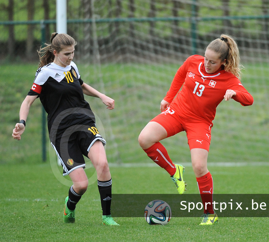 20160211 - TUBIZE , BELGIUM : Belgian Marie Minnaert (L) and Switzerland's Annina Rauber (R) pictured during the friendly female soccer match between Women under 17 teams of  Belgium and Switzerland , in Tubize , Belgium . Thursday 11th February 2016 . PHOTO SPORTPIX.BE DIRK VUYLSTEKE