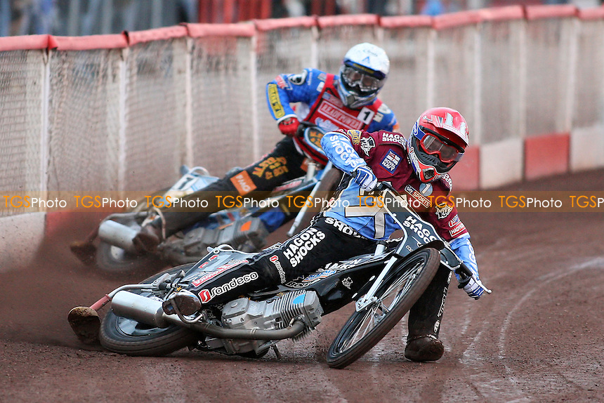 Heat 1: Richardson (red) and Nicholls - Lakeside Hammers vs Peterborough Panthers - Sky Sports Elite League Speedway at Arena Essex Raceway, Purfleet - 28/05/10 - MANDATORY CREDIT: Gavin Ellis/TGSPHOTO - Self billing applies where appropriate - Tel: 0845 094 6026