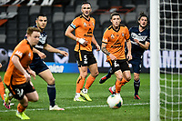 29th July 2020; Bankwest Stadium, Parramatta, New South Wales, Australia; A League Football, Melbourne Victory versus Brisbane Roar; Tom Aldred and Scott Neville of Brisbane Roar watch a shot go narrowly wide of the goal