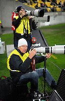 Photographers Matt Duncan and Martin Hunter during the Super Rugby match between the Hurricanes and Blues at Westpac Stadium, Wellington, New Zealand on Saturday, 2 July 2016. Photo: Dave Lintott / lintottphoto.co.nz