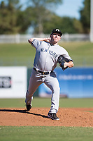 Glendale Desert Dogs relief pitcher Kyle Zurak (70), of the New York Yankees organization, delivers a pitch during an Arizona Fall League game against the Surprise Saguaros at Surprise Stadium on November 13, 2018 in Surprise, Arizona. Surprise defeated Glendale 9-2. (Zachary Lucy/Four Seam Images)