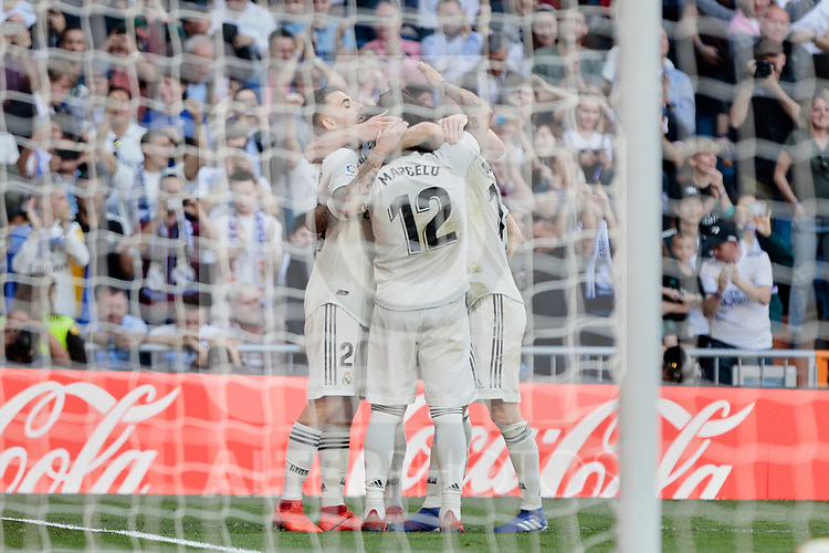 Real Madrid's players celebrate goal during La Liga match between Real Madrid and Real Club Celta de Vigo at Santiago Bernabeu Stadium in Madrid, Spain. March 16, 2019. (ALTERPHOTOS/A. Perez Meca)