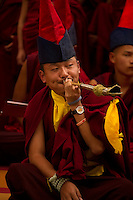 Buddhist lama playing a unique pipe in a Losar ceremony, Sikkim, India