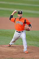 Bowie Baysox pitcher Eddie Gamboa #34 during a game against the Erie Seawolves on April 23, 2013 at Jerry Uht Park in Erie, Pennsylvania.  Erie defeated Bowie 4-1.  (Mike Janes/Four Seam Images)