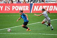 Kansas City, MO - Thursday August 10, 2017: Desiree Scott, Lynn Williams during a regular season National Women's Soccer League (NWSL) match between FC Kansas City and the North Carolina Courage at Children's Mercy Victory Field.