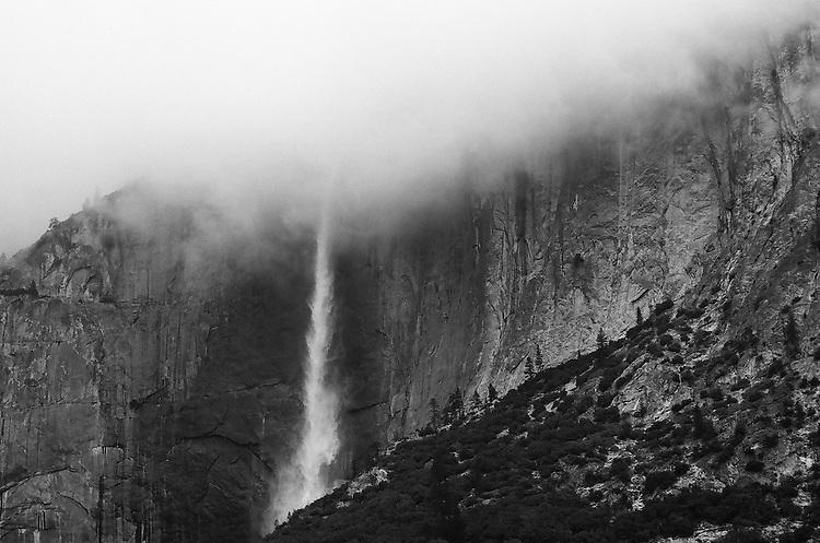 Fog and Yosemite Falls,  35mm image on Ilford Delta 100 film