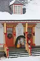 Amérique/Amérique du Nord/Canada/Québec/ Env de Québec/Île d'Orléans: Maisons tarditionnelles  en bois et décoration de Noël