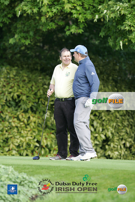 Anthony Wall (ENG) and Michael Pengergast during Wednesday's Pro-Am ahead of the 2016 Dubai Duty Free Irish Open Hosted by The Rory Foundation which is played at the K Club Golf Resort, Straffan, Co. Kildare, Ireland. 18/05/2016. Picture Golffile | TJ Caffrey.<br /> <br /> All photo usage must display a mandatory copyright credit as: &copy; Golffile | TJ Caffrey.