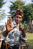 INDONESIA, Flores, a man demonstrates one of his traditional boxing poses in his village Kampung Tutubhada in Rendu