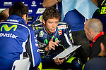 The rider Valentino Rossi in the box during free practice on friday at the circuit Sachenring. MotoGP. Germany. 11/07/2014. Samuel de Roman / Photocall3000
