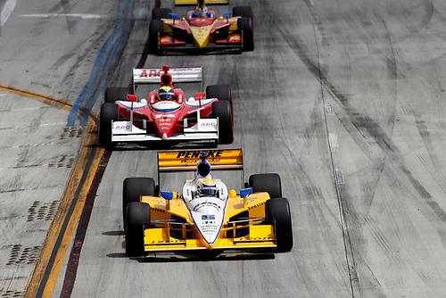15-17 April, 2011, Long Beach, California, USA<br /> Ryan Briscoe leads<br /> ©2011, Michael L. Levitt<br /> LAT Photo USA