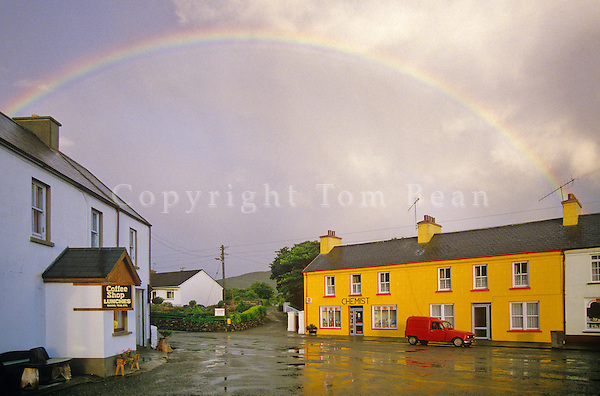 Rainbow over village of Sneem in County Kerry, Ireland, AGPix_0286.