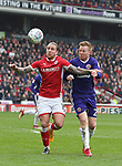 George Moncur of Barnsley tussles with Mark Duffy of Sheffield Utd during the championship match at the Oakwell Stadium, Barnsley. Picture date 7th April 2018. Picture credit should read: Simon Bellis/Sportimage