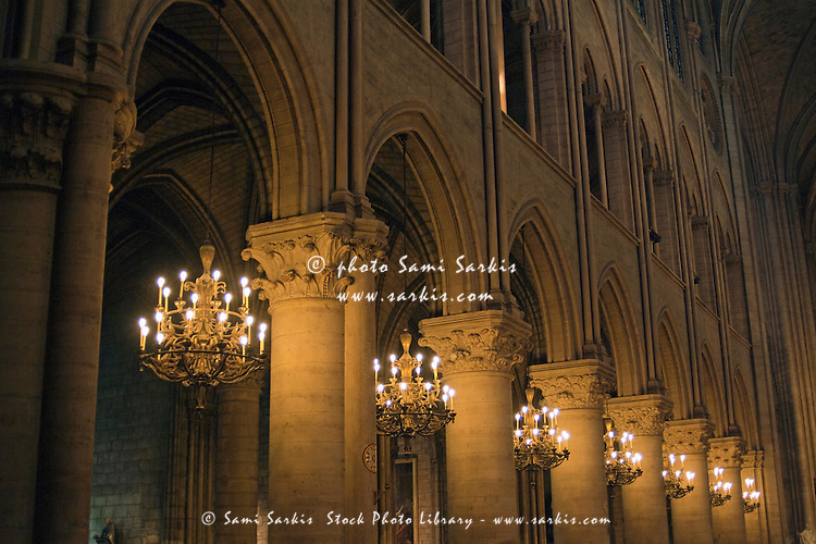 Gothic styled interior of the famous cathedral, Notre Dame de Paris, France