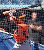 Baltimore Orioles shortstop Manny Machado #85 during batting practice before a spring training game against the Tampa Bay Rays at the Charlotte County Sports Park on March 5, 2012 in Port Charlotte, Florida.  (Mike Janes/Four Seam Images)