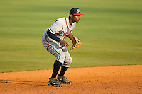 Shortstop Mycal Jones #1 of the Danville Braves on defense versus the Greeneville Astros at Pioneer Park June 28, 2009 in Greeneville, Tennessee. (Photo by Brian Westerholt / Four Seam Images)