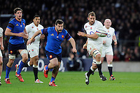 England captain Chris Robshaw kicks the ball upfield