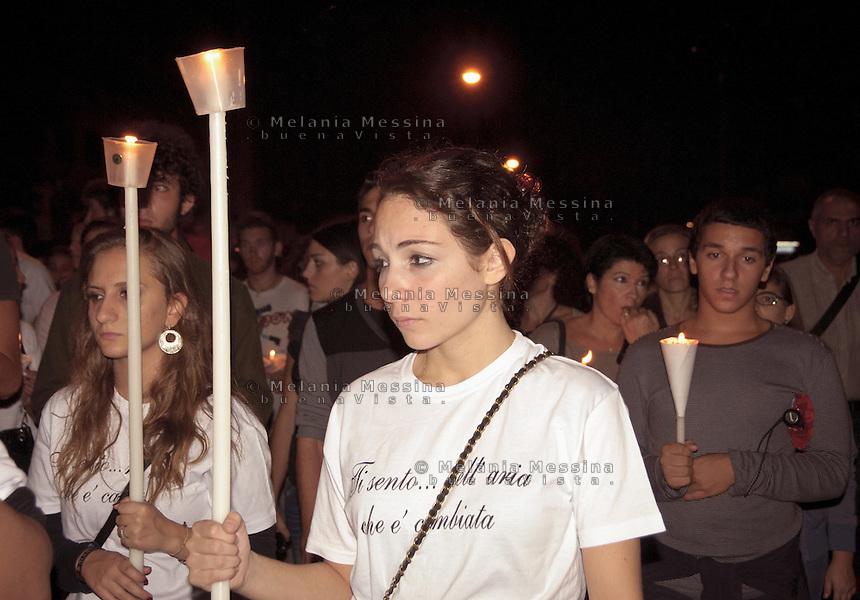 Palermo: candlelight vigil for Carmela Petrucci, the girl killed by former boyfriend of his sister Lucia...Palermo: fiaccolata per Carmela Petrucci, la ragazza uccisa dall'ex ragazzo della sorella Lucia.