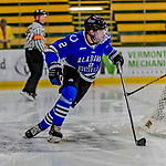 29 December 2018: University of Alabama Huntsville Charger Defenseman Cam Knight, a Senior from North Reading, MA, in second period action against the Northeastern University Huskies at Gutterson Fieldhouse in Burlington, Vermont. The Huskies shut out the Chargers 2-0 in the Catamount Cup tournament at the University of Vermont. Mandatory Credit: Ed Wolfstein Photo *** RAW (NEF) Image File Available ***