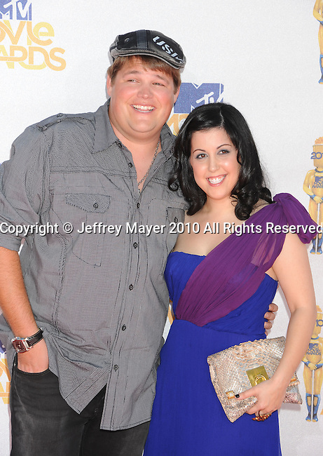 UNIVERSAL CITY, CA. - June 06: Jareb Dauplaise (L) and Kara Taitz arrive at the 2010 MTV Movie Awards at Gibson Amphitheatre on June 6, 2010 in Universal City, California.