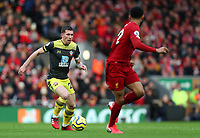 1st February 2020; Anfield, Liverpool, Merseyside, England; English Premier League Football, Liverpool versus Southampton; Pierre-Emile Hojbjerg of Southampton runs with the ball