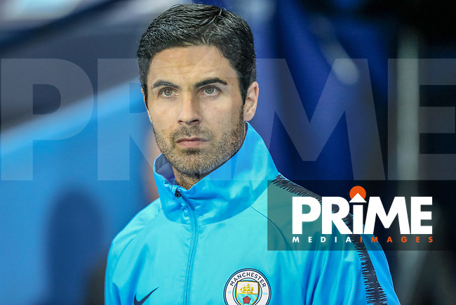 Man City assistant manager Mikel Arteta during the UEFA Champions League match between Manchester City and Olympique Lyonnais at the Etihad Stadium, Manchester, England on 19 September 2018. Photo by David Horn / PRiME Media Images.