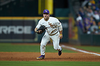 LSU Tigers first baseman Cade Beloso (24) on defense against the Texas Longhorns in game three of the 2020 Shriners Hospitals for Children College Classic at Minute Maid Park on February 28, 2020 in Houston, Texas. The Tigers defeated the Longhorns 4-3. (Brian Westerholt/Four Seam Images)