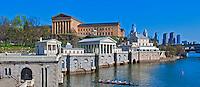 Museum of Art, Waterworks, Building, Skyline, Phila. PA, Panorama, Sculling Crew, CGI