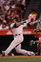 Andruw Jones #22 of the New York Yankees bats against the Los Angeles Angels at Angel Stadium on May 29, 2012 in Anaheim,California. Los Angeles defeated New York 5-1.(Larry Goren/Four Seam Images)