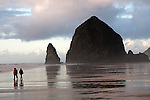 A walk on the beach with Haystack Rock providing the ambiance.