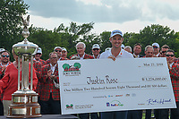 Justin Rose (GBR) is presented the check for winning the Fort Worth Invitational, The Colonial, at Fort Worth, Texas, USA. 5/27/2018.<br /> Picture: Golffile | Ken Murray<br /> <br /> All photo usage must carry mandatory copyright credit (© Golffile | Ken Murray)