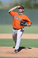 San Francisco Giants pitcher Dan Slania (46) during an instructional league game against the Oakland Athletics on September 27, 2013 at Papago Park Baseball Complex in Phoenix, Arizona.  (Mike Janes/Four Seam Images)