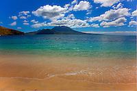 South Frigate Bay Beach, St. Kitts, Nevis Island beyond, Caribbean Sea, Lesser Antilles