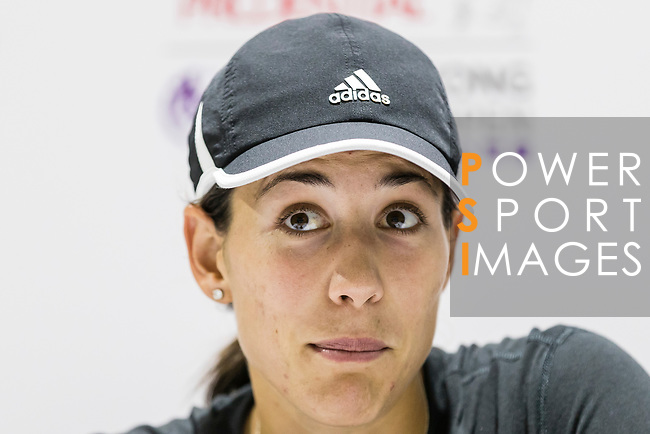 Garbine Muguruza of Spain talks to media after winning the singles quarter final match against Luksika Kumkhum of Thailand at the WTA Prudential Hong Kong Tennis Open 2018 at the Victoria Park Tennis Stadium on 12 October 2018 in Hong Kong, Hong Kong.